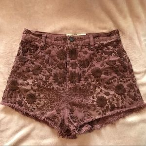 Free people embroidered high wasted shorts